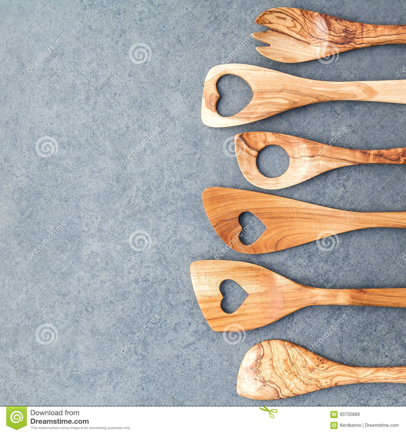 Various Wooden Cooking Utensils Border. Wooden Spoons And Wooden ...