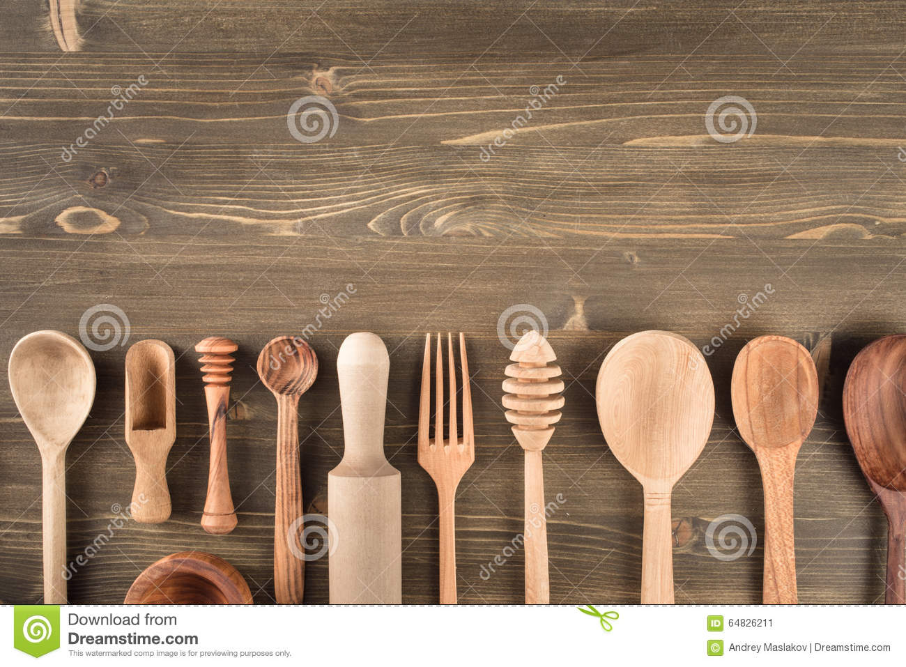 Various wooden kitchen utensils on table stock image for Table utensils