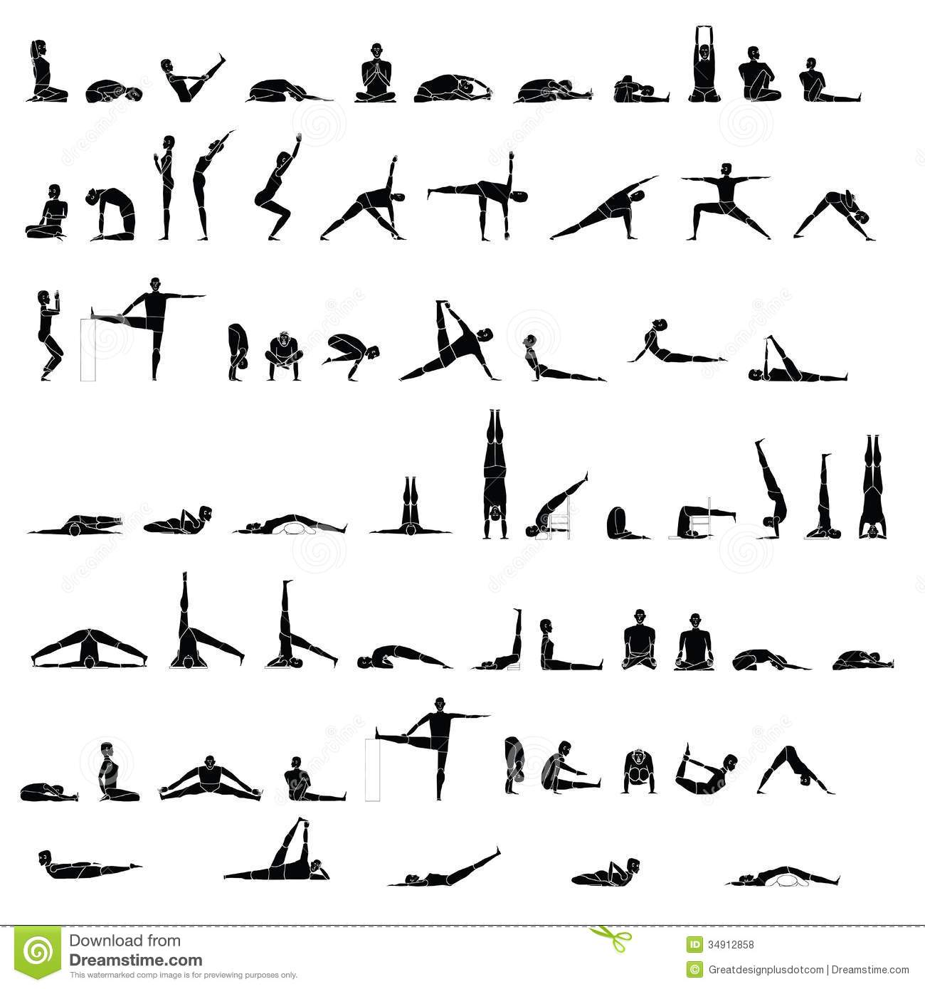 Various Yoga And Stretching Poses Stock Vector - Image ...
