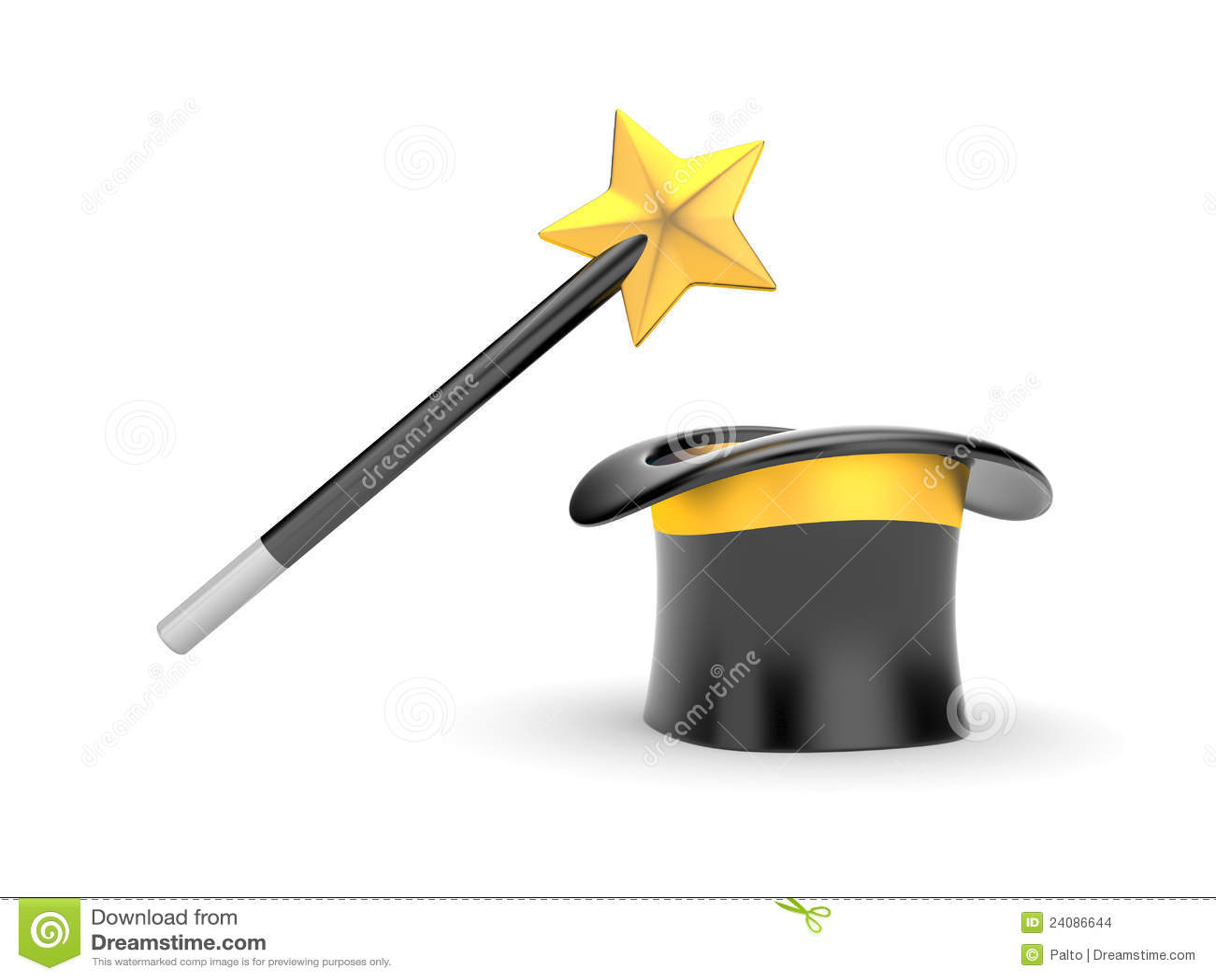 122467d152e Varita y sombrero mágicos stock de ilustración. Ilustración de ...