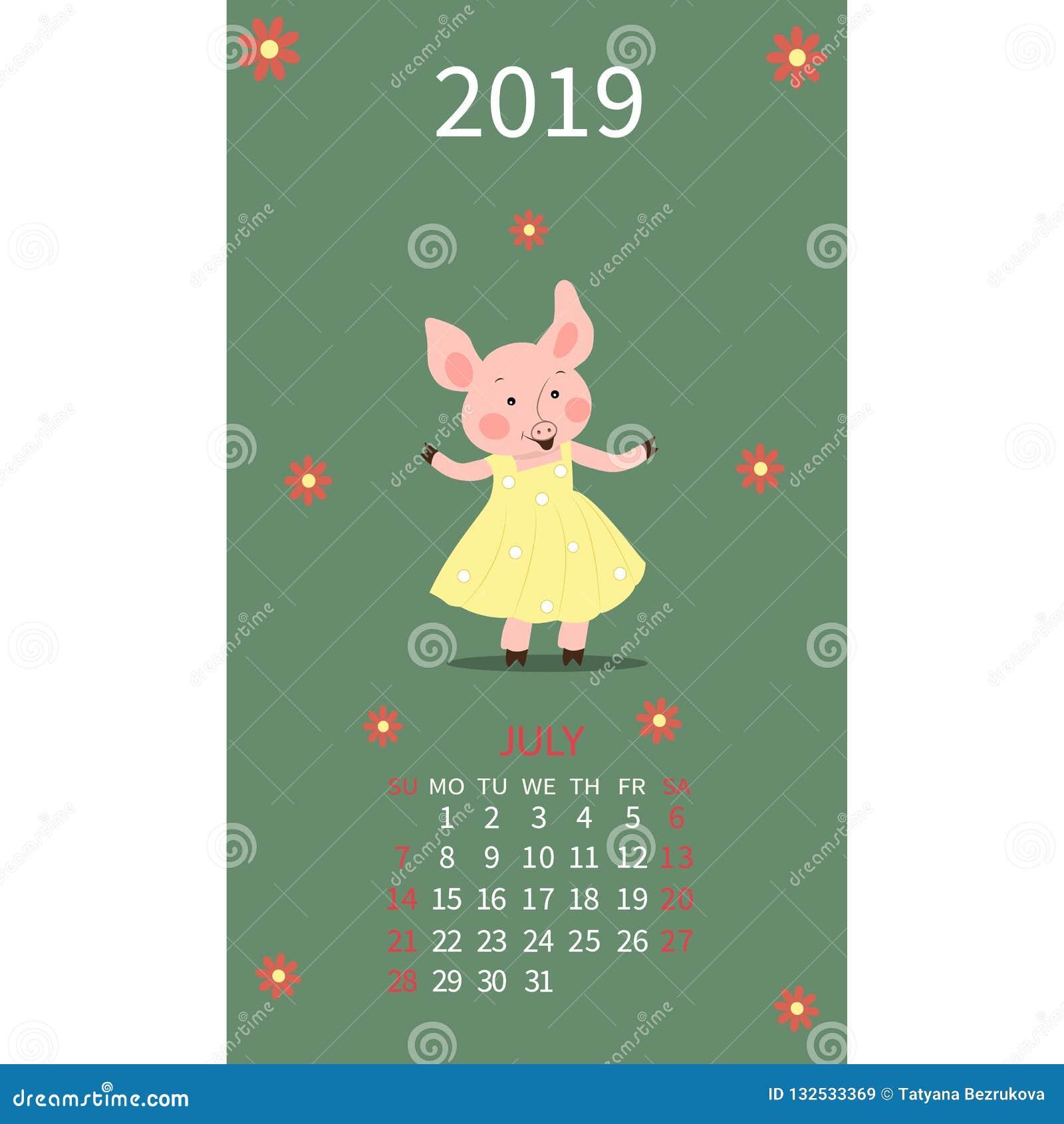 Varkenskalender voor Juli 2019 Het leuke varken, maand is Kanker van het dierenriemteken, leeuw Het weekbegin op Zondag Vectorill