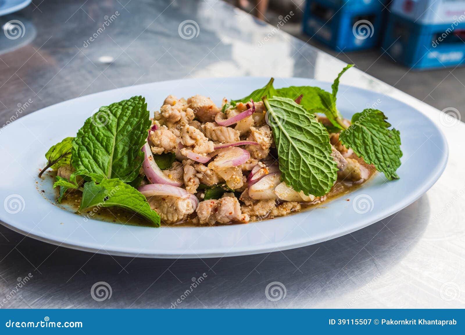 Varkensvlees met Groente wordt gemengd die