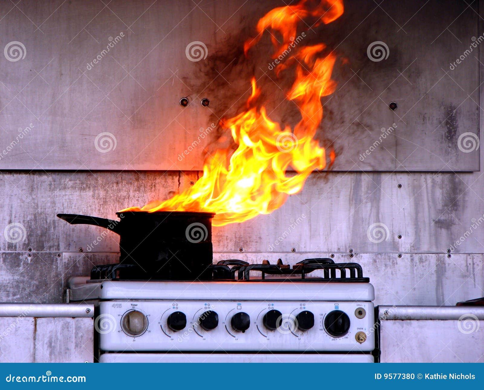 Varm kökolja för brand