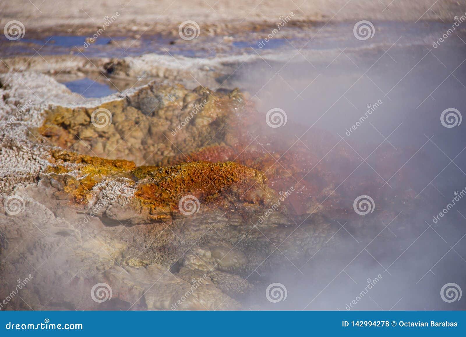 Varm rostig geyser som spiller vatten och ånga