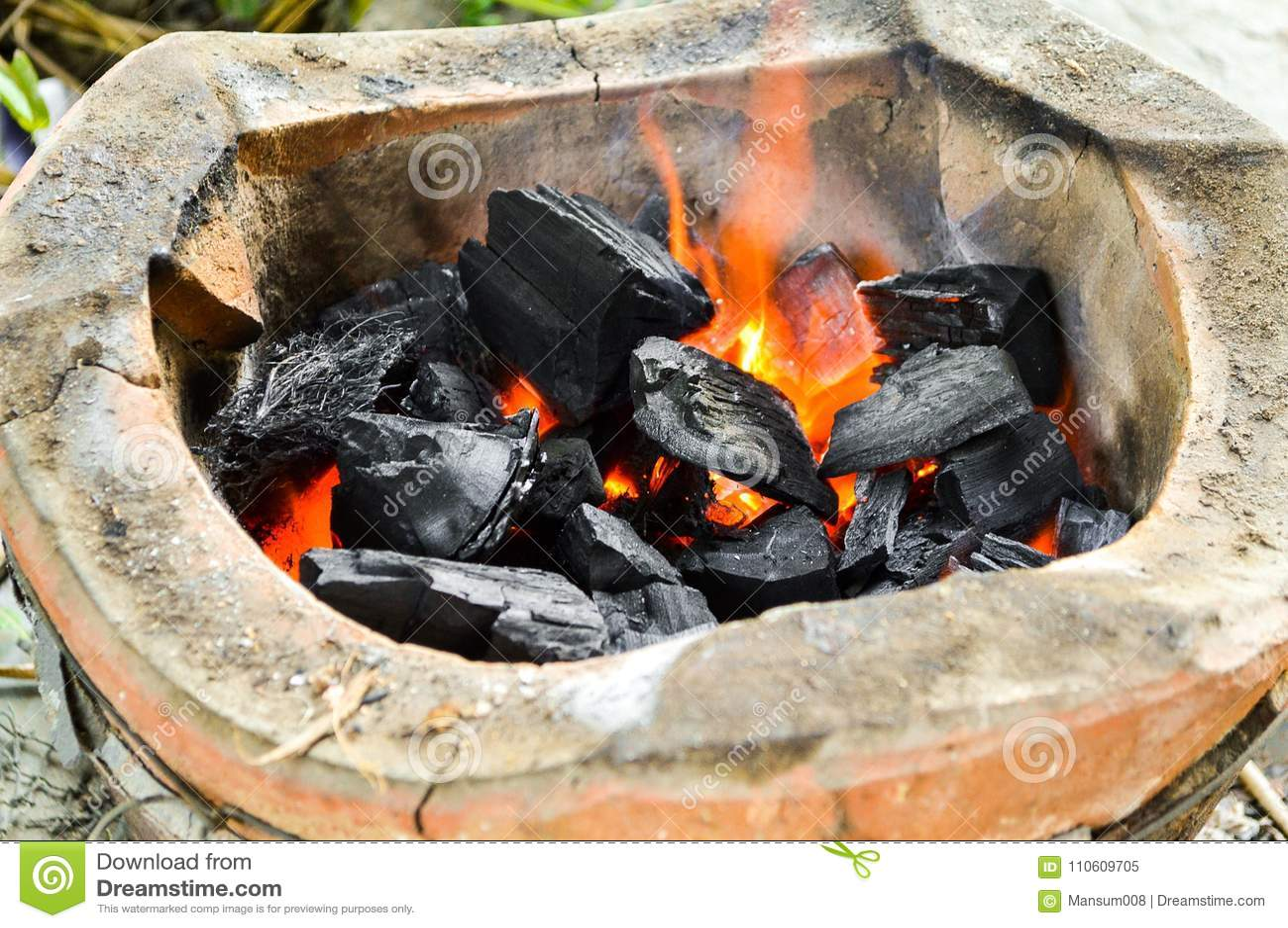 Varmt kol i ugn