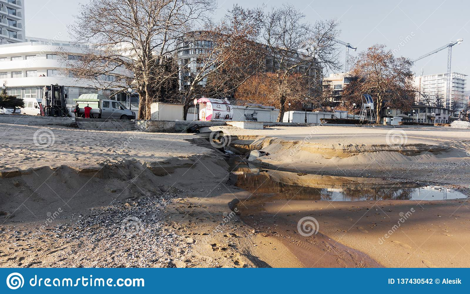 VARNA, BULGARIA - Jan 19, 2019: Industrial Waste Water, Pipeline