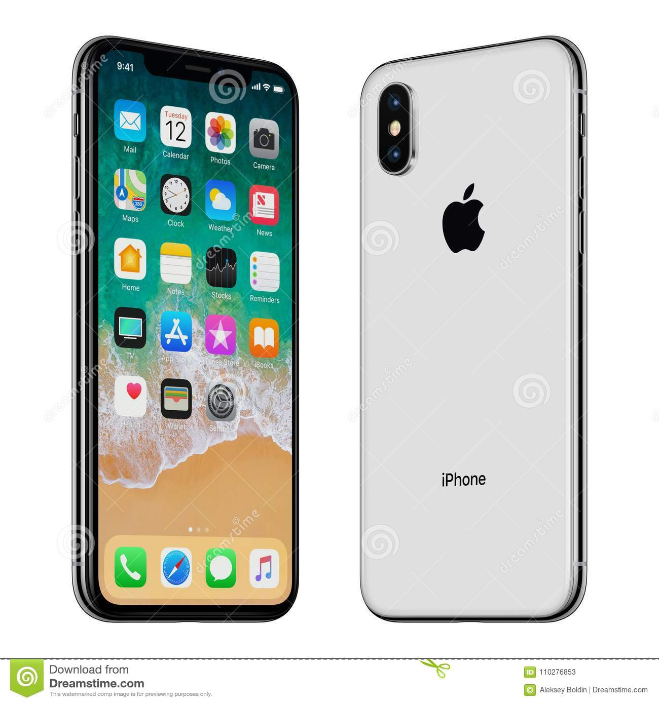 detailed look 7d247 ded7f Black Apple IPhone X Front Side And Back Side Turned Towards Each ...