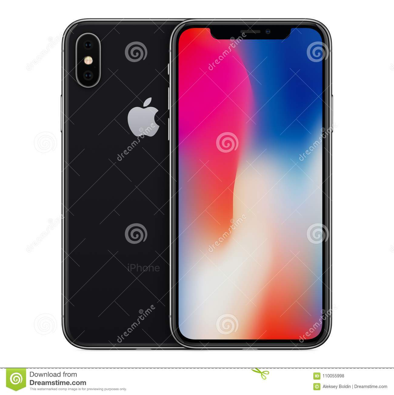 Space Gray Apple iPhone X mockup front view with wallpaper screen and iPhone 10 back side. Download preview