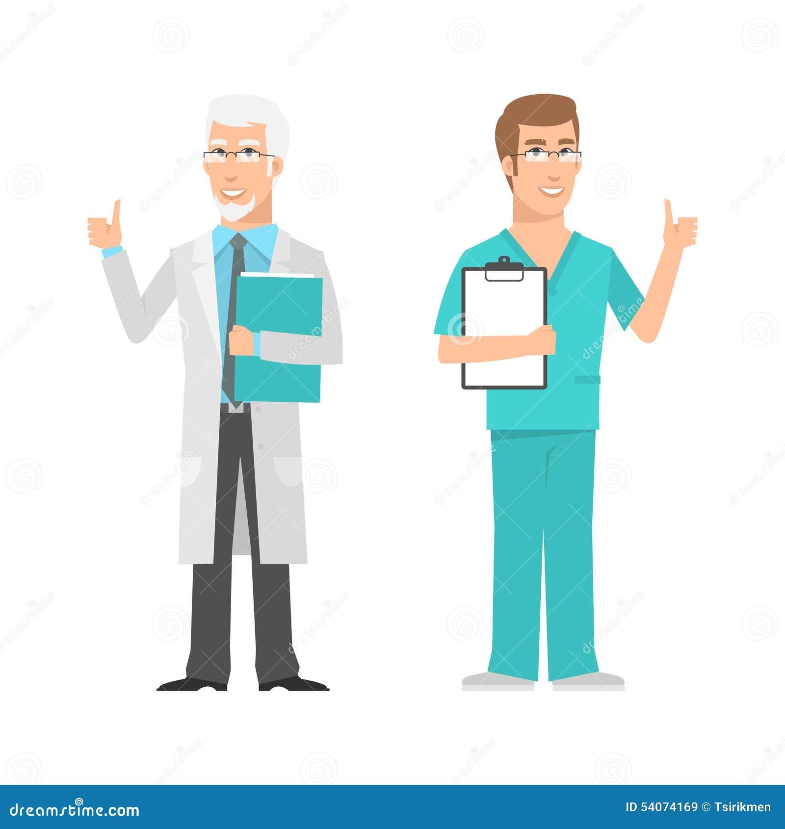 Varones científico y doctor que muestran los pulgares para arriba