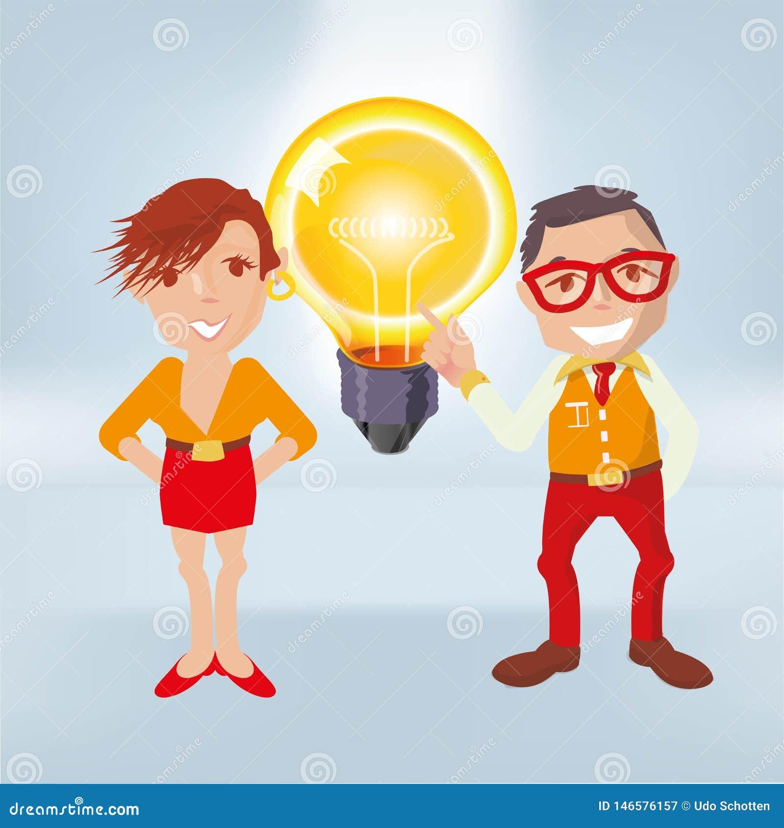 Varones con una bombilla grande y las porciones de buenas ideas