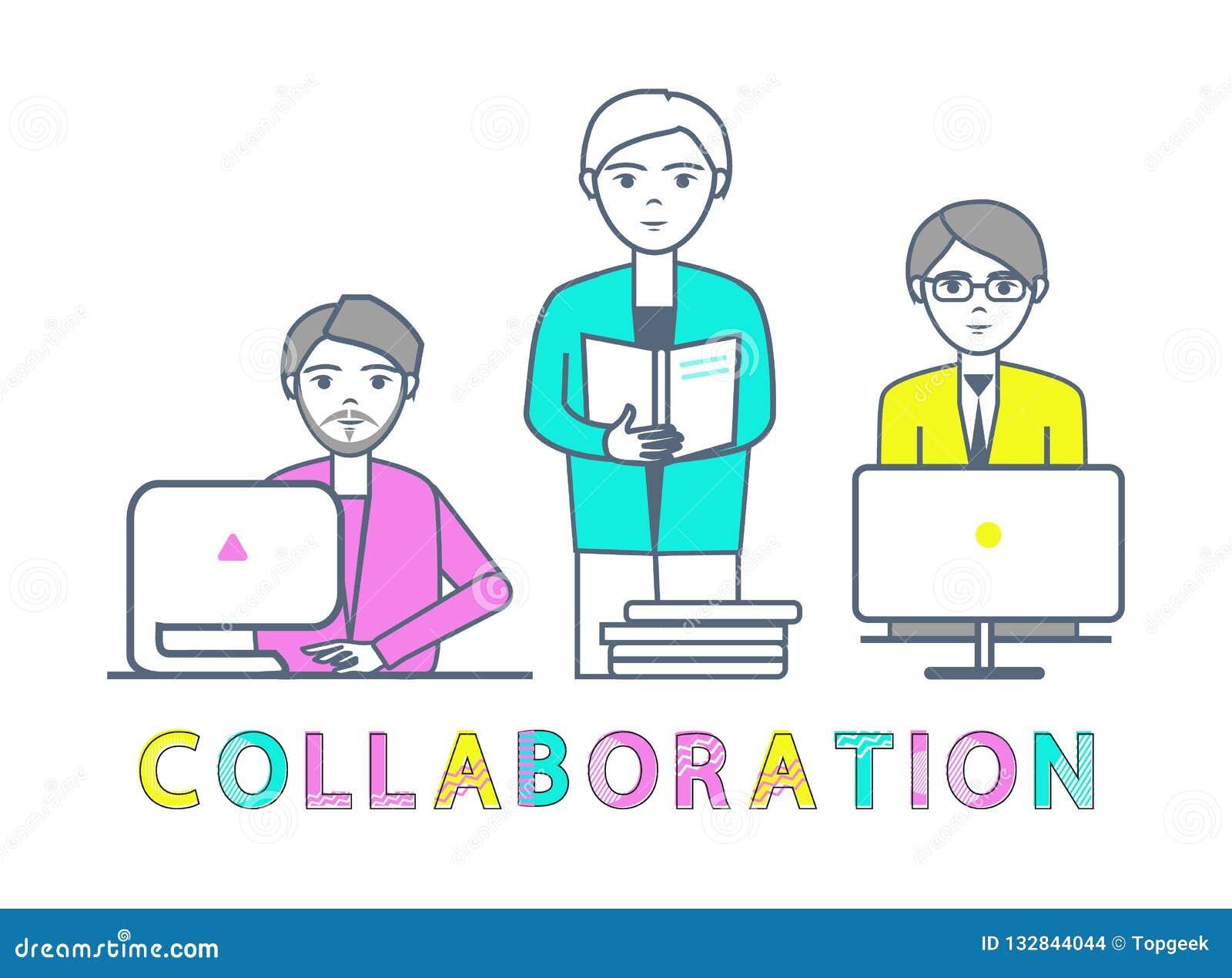 Varones de la colaboración que trabajan con vector de los ordenadores portátiles