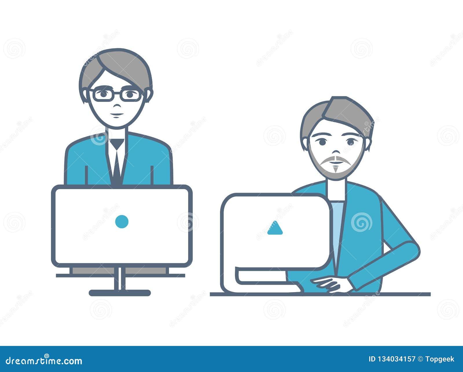 Varones que llevan los trajes formales que sientan vector de los ordenadores portátiles