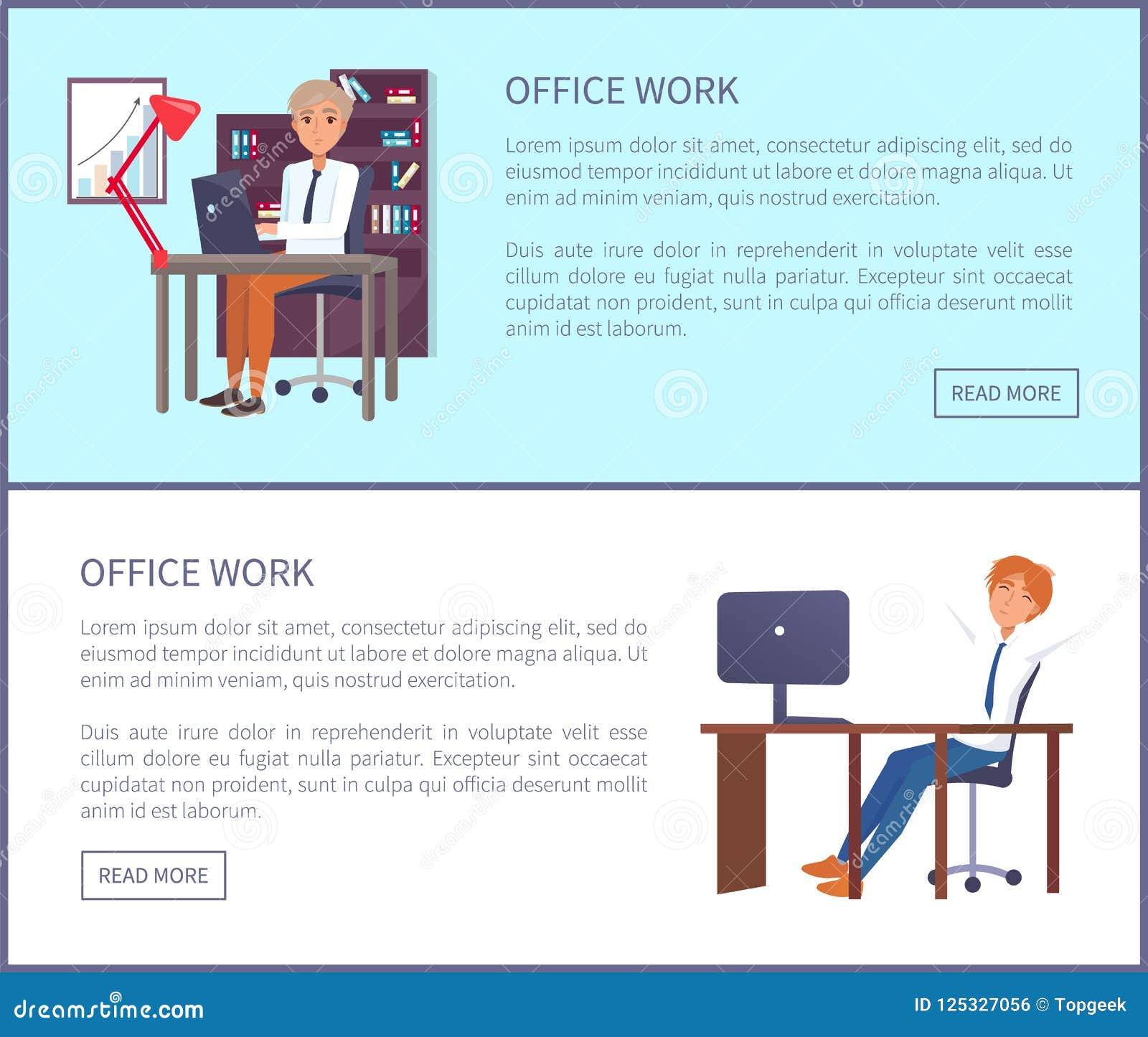 Varones Sit Workplace de la muestra del texto del cartel del trabajo de oficina