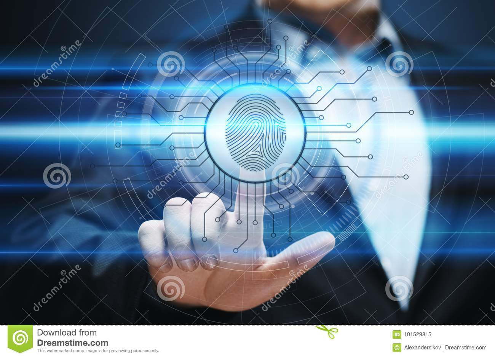 A varredura da impressão digital fornece o acesso da segurança a identificação da biométrica Conceito do Internet da segurança da