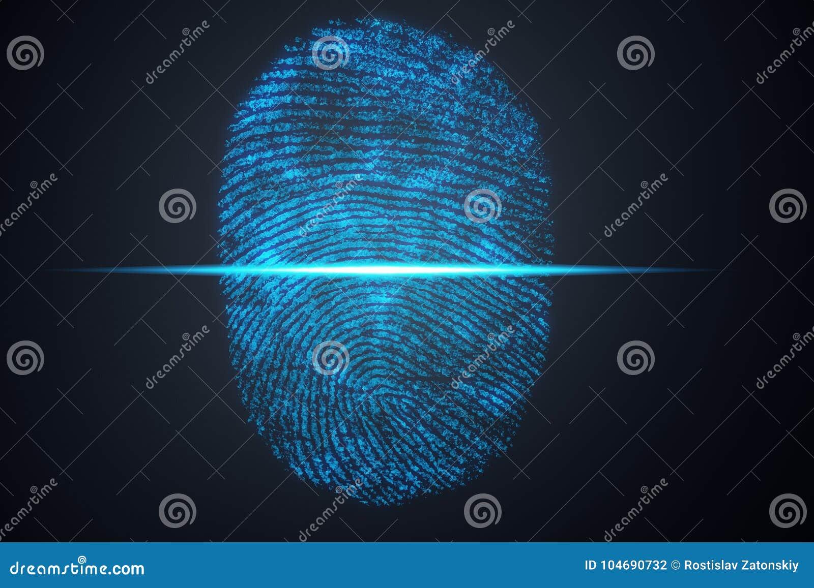 A varredura da impressão digital da ilustração 3D fornece o acesso da segurança a identificação da biométrica Proteção da impress