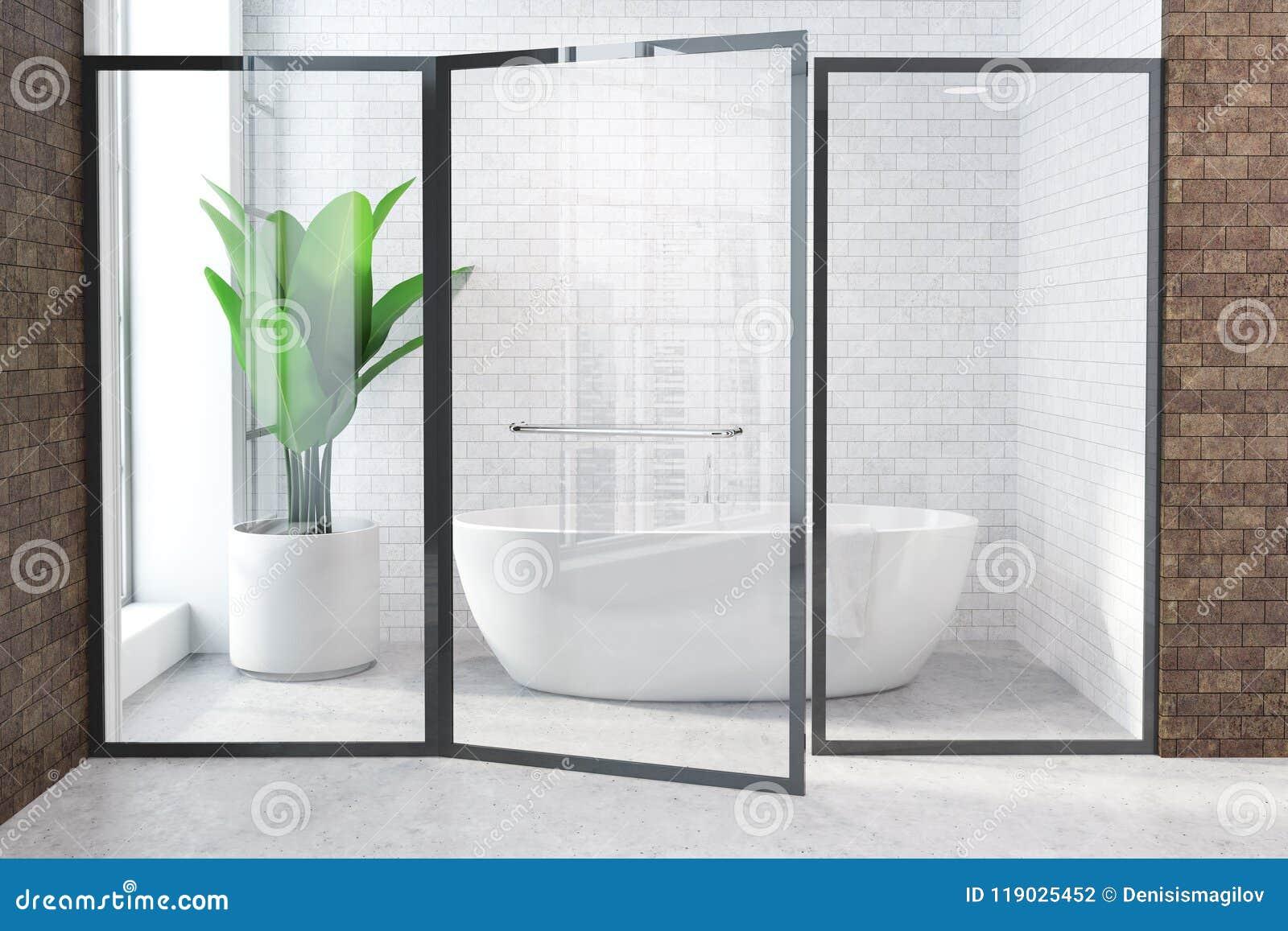Vetri Per Vasca Del Bagno.Vasca Bianca In Bagno Bianco E Marrone Porta Di Vetro Illustrazione