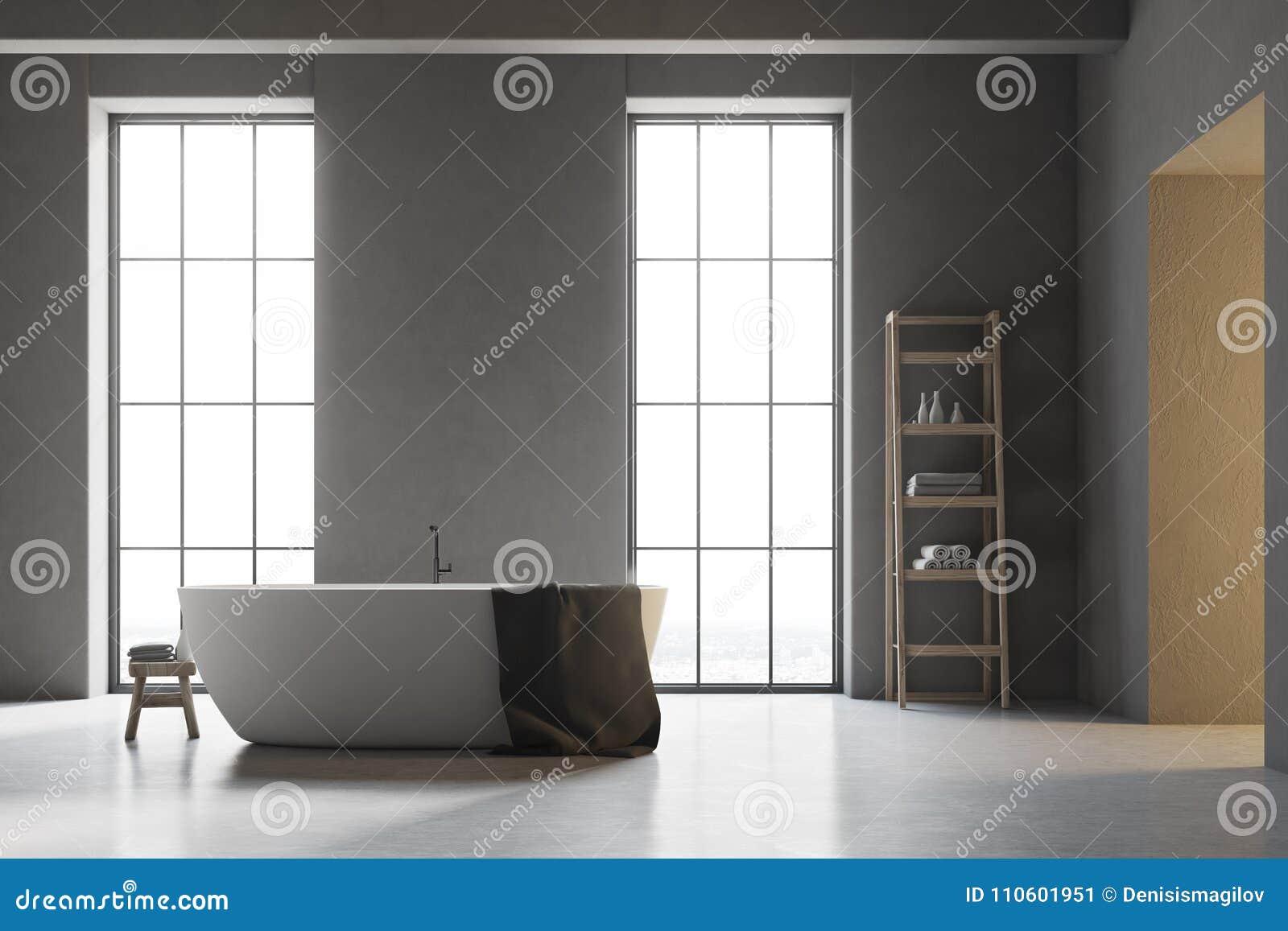 Pavimento Bianco Grigio : Vasca bianca in un bagno grigio con il pavimento bianco