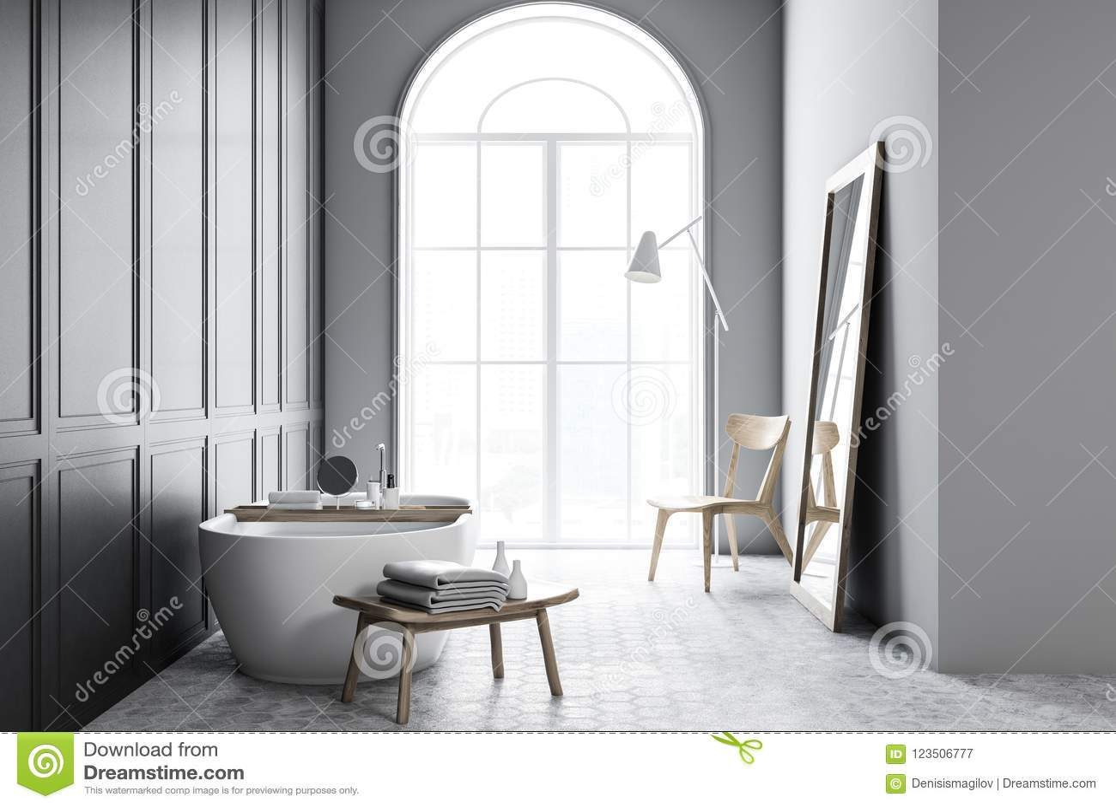 Vasca con acqua nell interno grigio del bagno illustrazione di