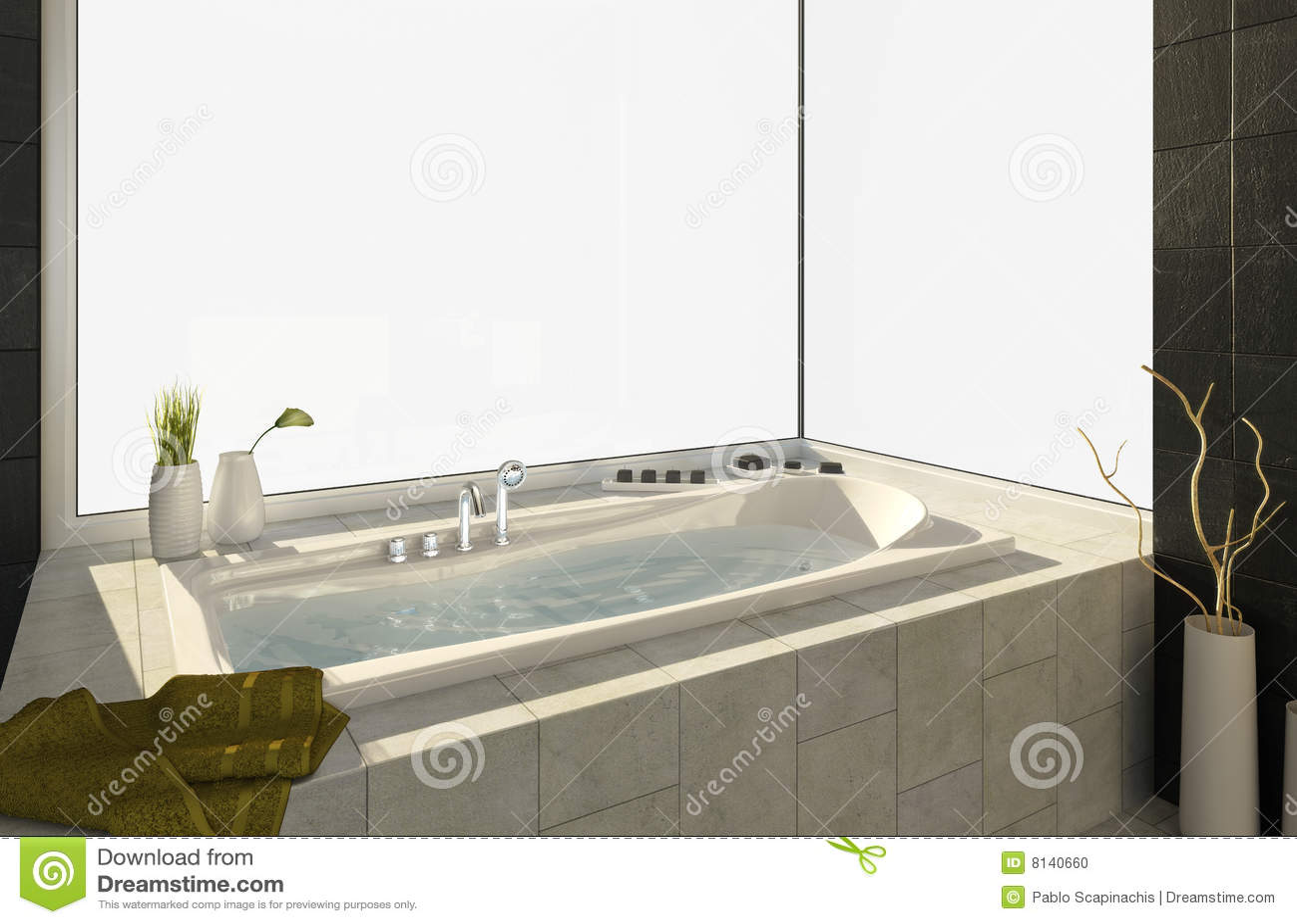Vasca Da Bagno Grande Misure.Vasca Da Bagno Con Le Viste Fotografia Stock Immagine Di