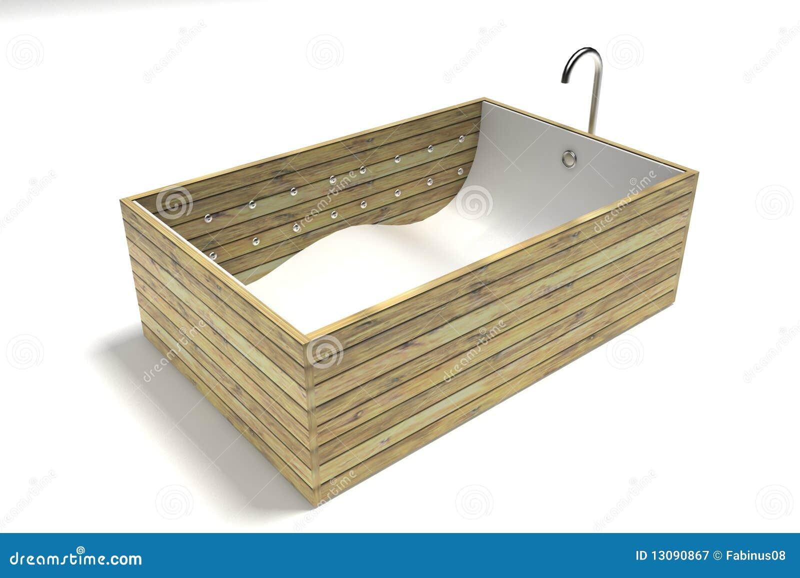 Vasca da bagno di legno della stecca su bianco fotografia - Vasca bagno legno ...