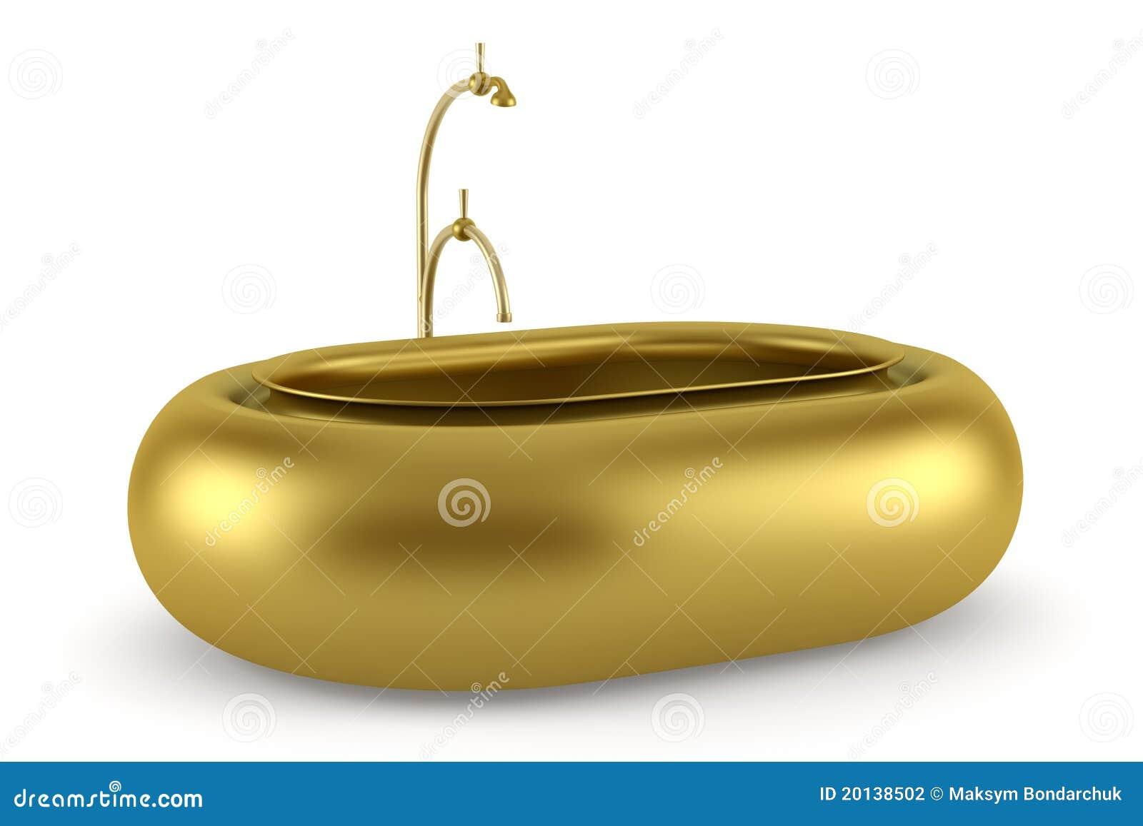 Vasca Da Bagno Bassa : Vasca da bagno dorata isolata su priorità bassa bianca illustrazione