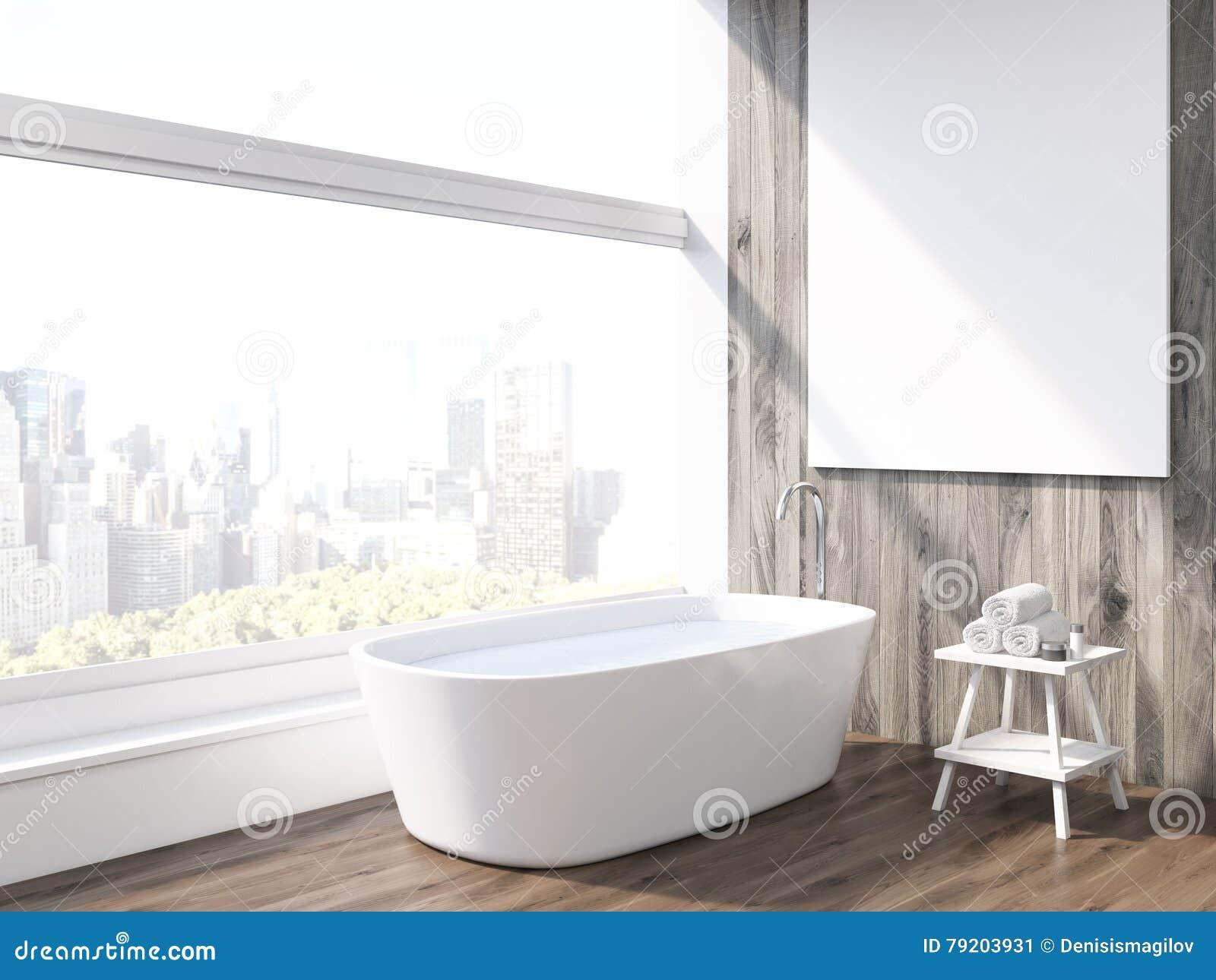 Vasca Da Bagno Verticale : Vasca da bagno e finestra panoramica illustrazione di stock