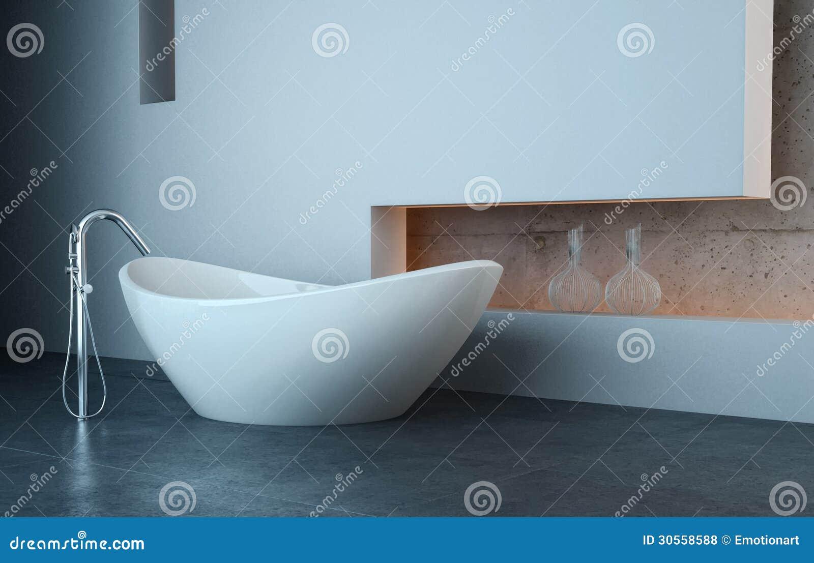 Vasca da bagno moderna davanti alla parete bianca illustrazione di stock illustrazione 30558588 - Vasca da bagno moderna ...