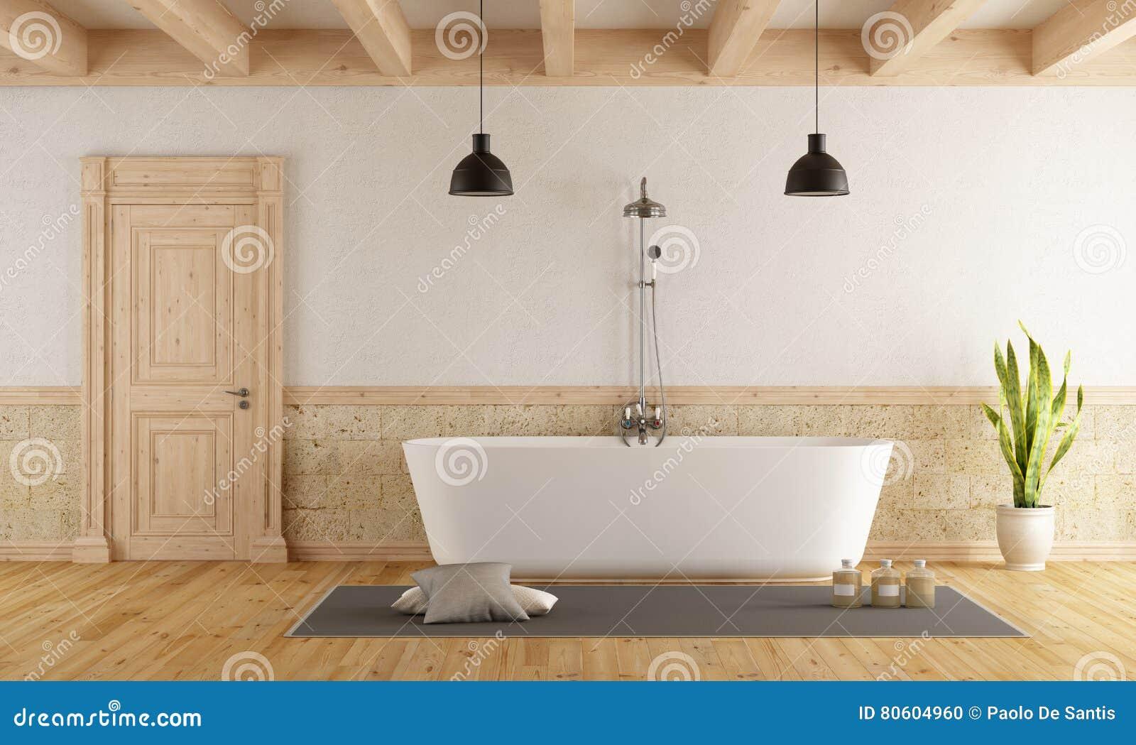Vasca Da Bagno Rustica : Vasca moderna in una stanza rustica illustrazione di stock