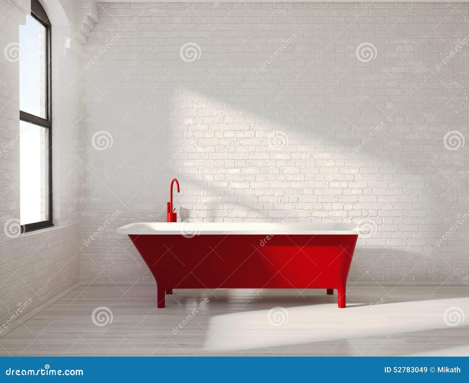 Vasca Da Bagno Rossa : Vasca rossa contemporanea in un interno bianco immagine stock