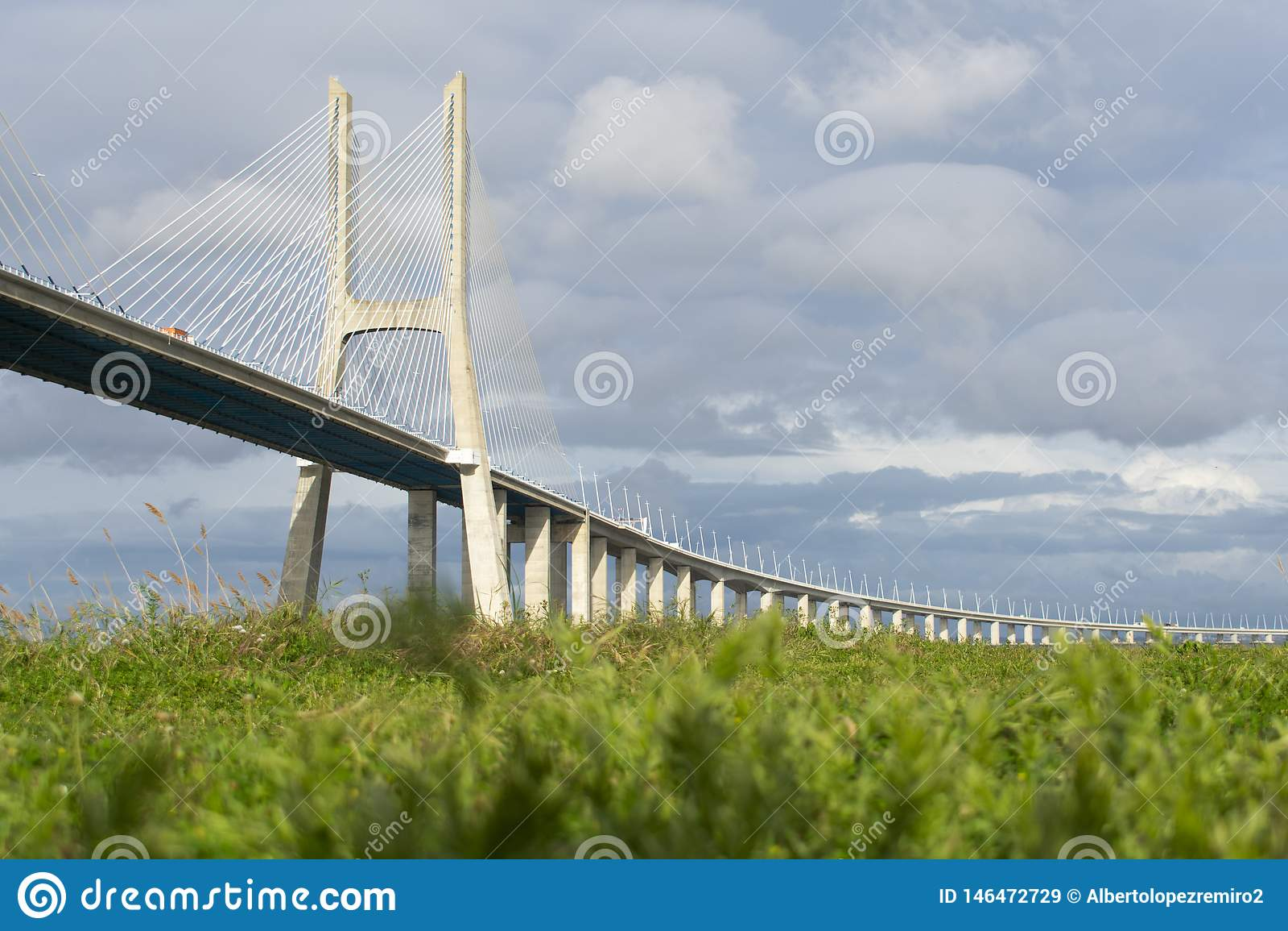 Vasco da Gama Bridge sobre un campo verde
