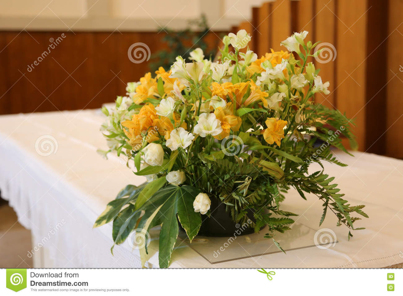 Vase Of Beautiful Flowers On The Altar In The Church Stock Photo Image Of Building Matrimony 79870364