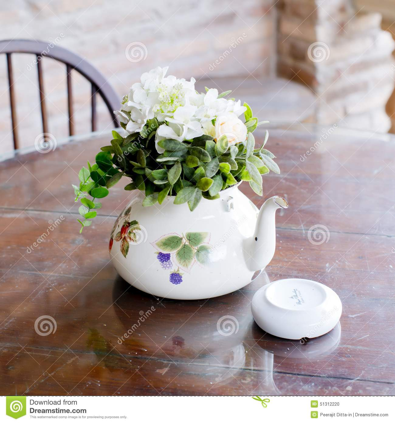 Vase Of Beautiful Flowers On Coffee Table Home Decor