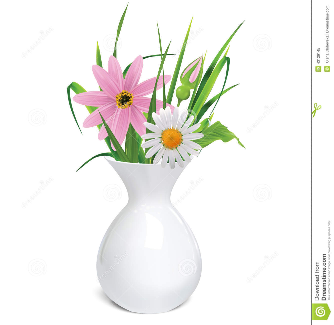 vase blanc avec un bouquet des fleurs et de l 39 herbe d 39 t illustration de vecteur image 43129145. Black Bedroom Furniture Sets. Home Design Ideas