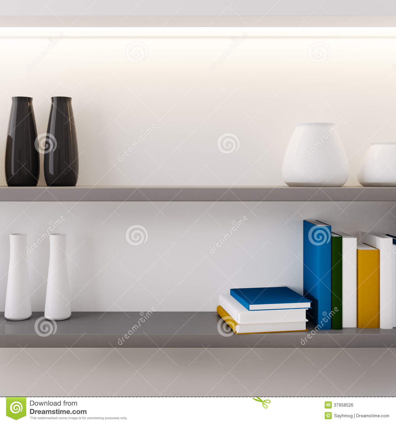 Vase and book decorated on shelf closeup