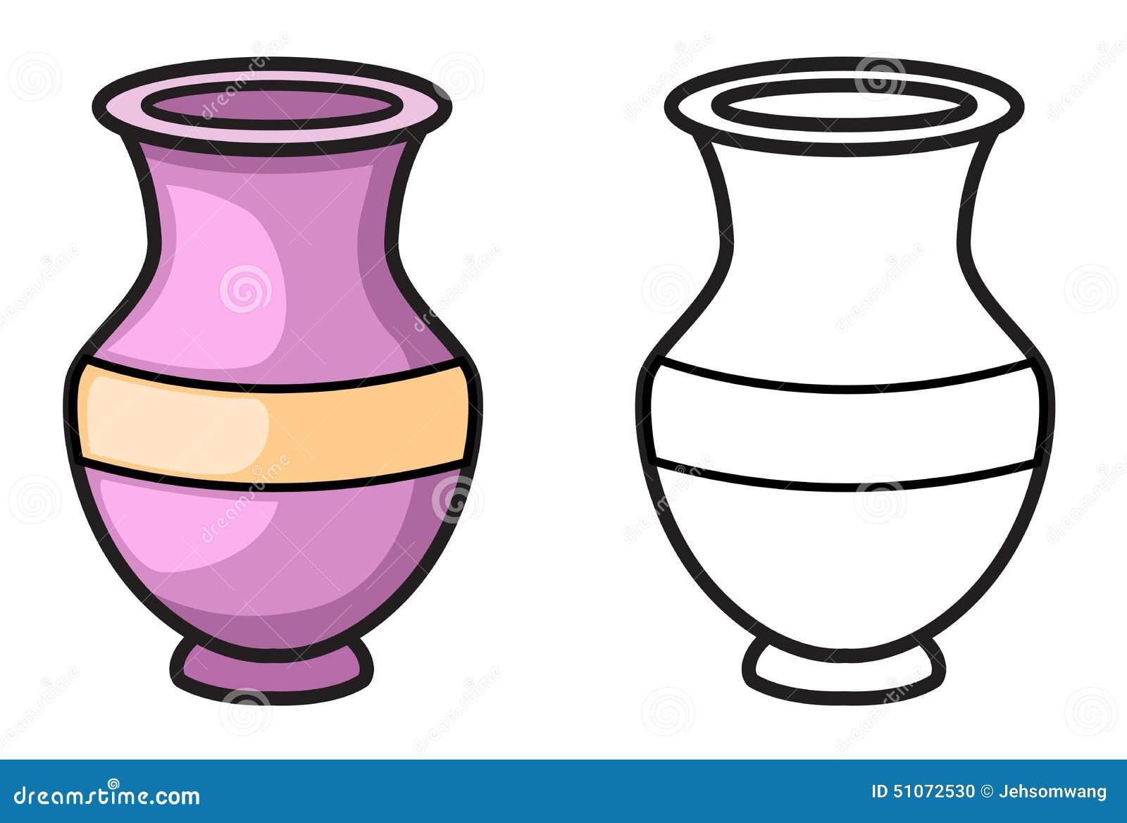 vase color et noir et blanc pour livre de coloriage. Black Bedroom Furniture Sets. Home Design Ideas