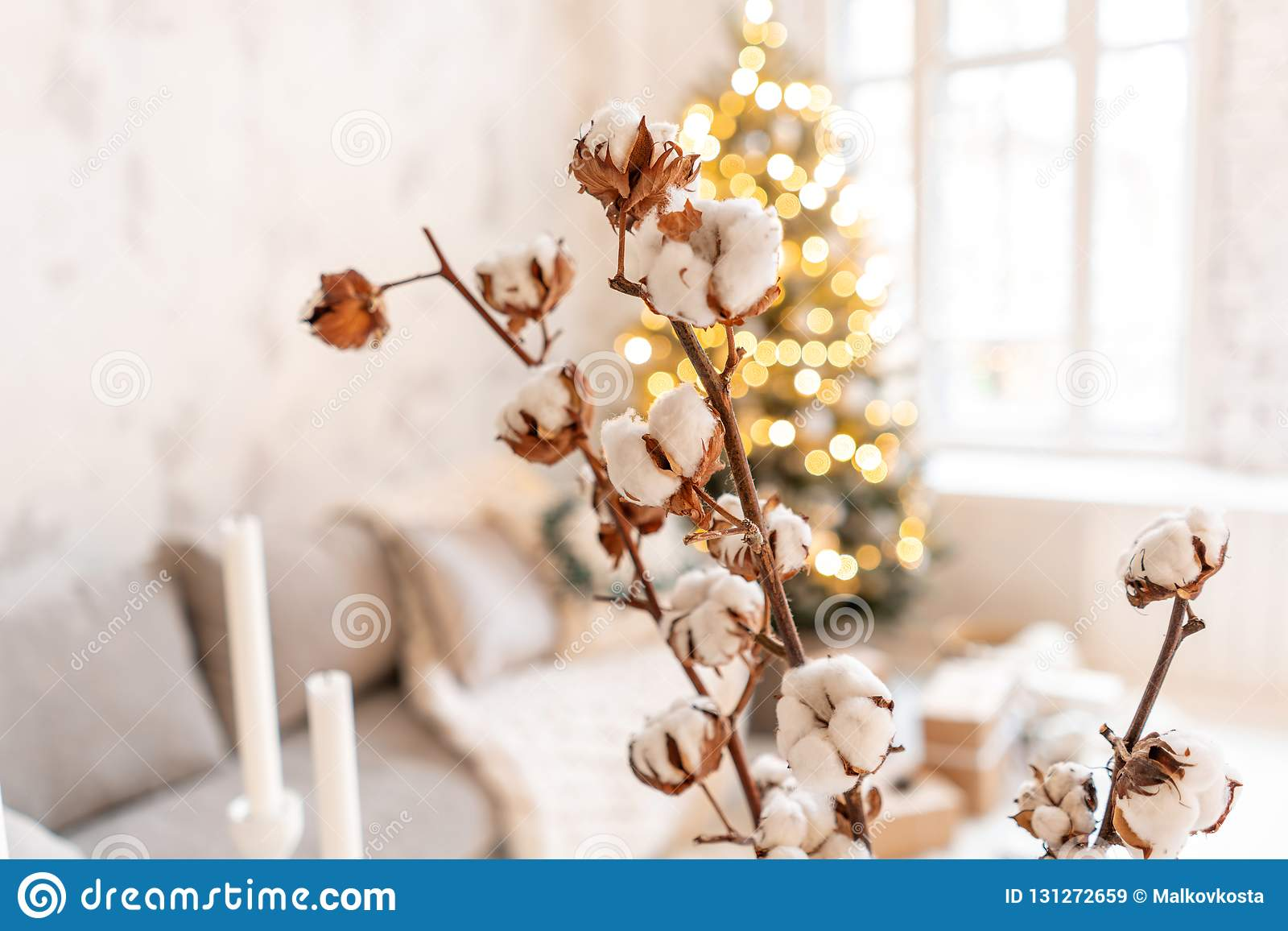 Vase With Cotton Branches Light Living Room With Christmas Tree Comfortable Sofa High Large Windows Stock Image Image Of Decorated Decoration 131272659