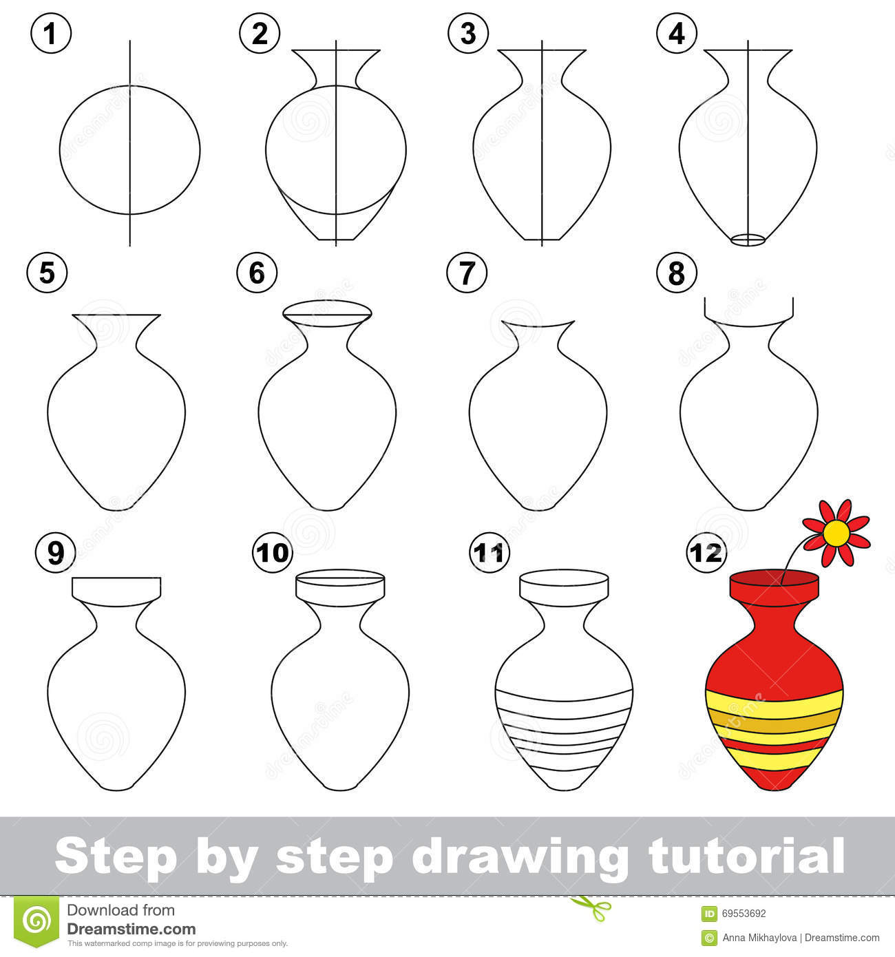 Drawing Tutorial For Children How To Draw The Vase With Flower Full Hd  Flower Vase Painting