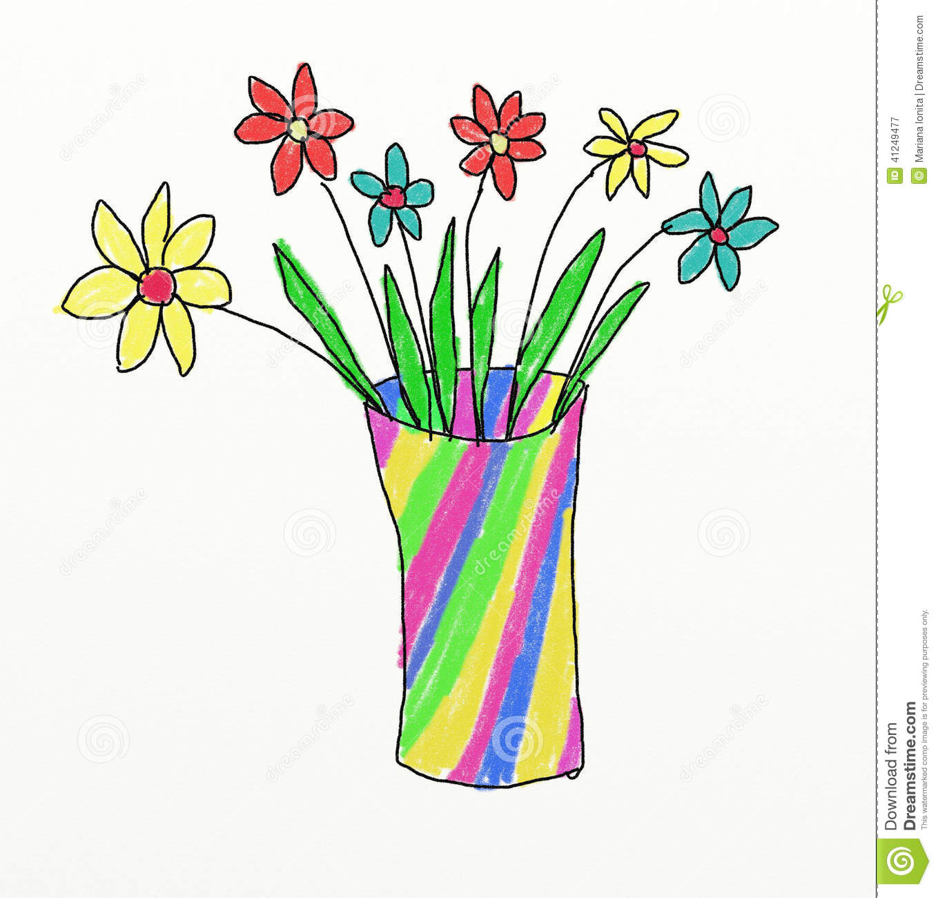Flower Child Line Drawing : Vase with flowers children drawing stock illustration