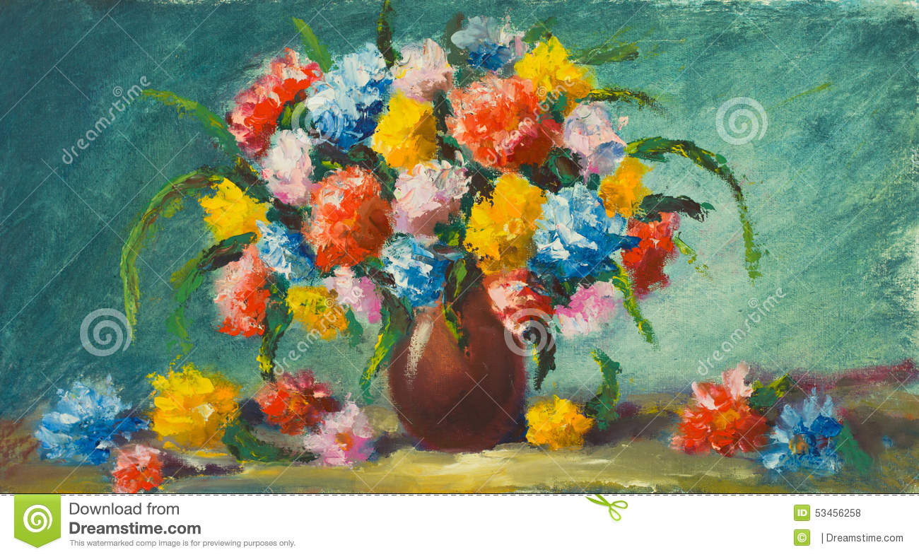 Vase flowers painting of beautiful flowers on canvas artwork download comp izmirmasajfo