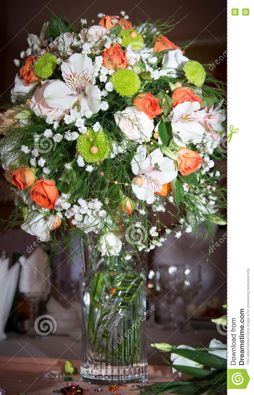 A Vase With Flowers Stock Photo Image 70949813