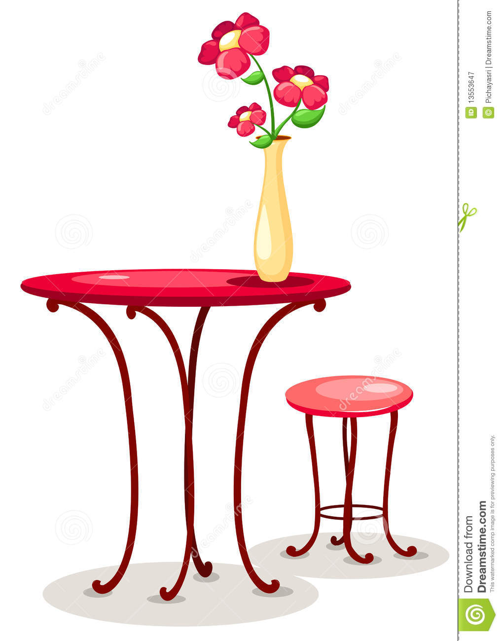 Vase of flowers with table and chair stock vector illustration vase of flowers with table and chair reviewsmspy
