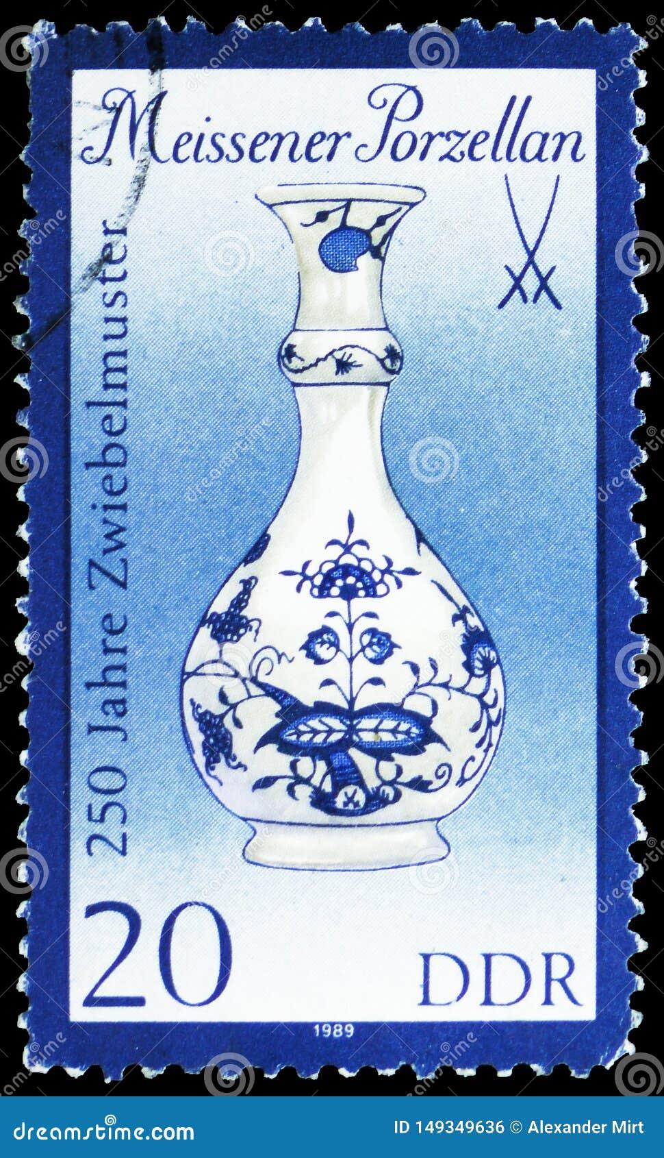 Vase (1908), Meissen-Porzellan: 250 Jahre blaues Zwiebel serie, circa 1989