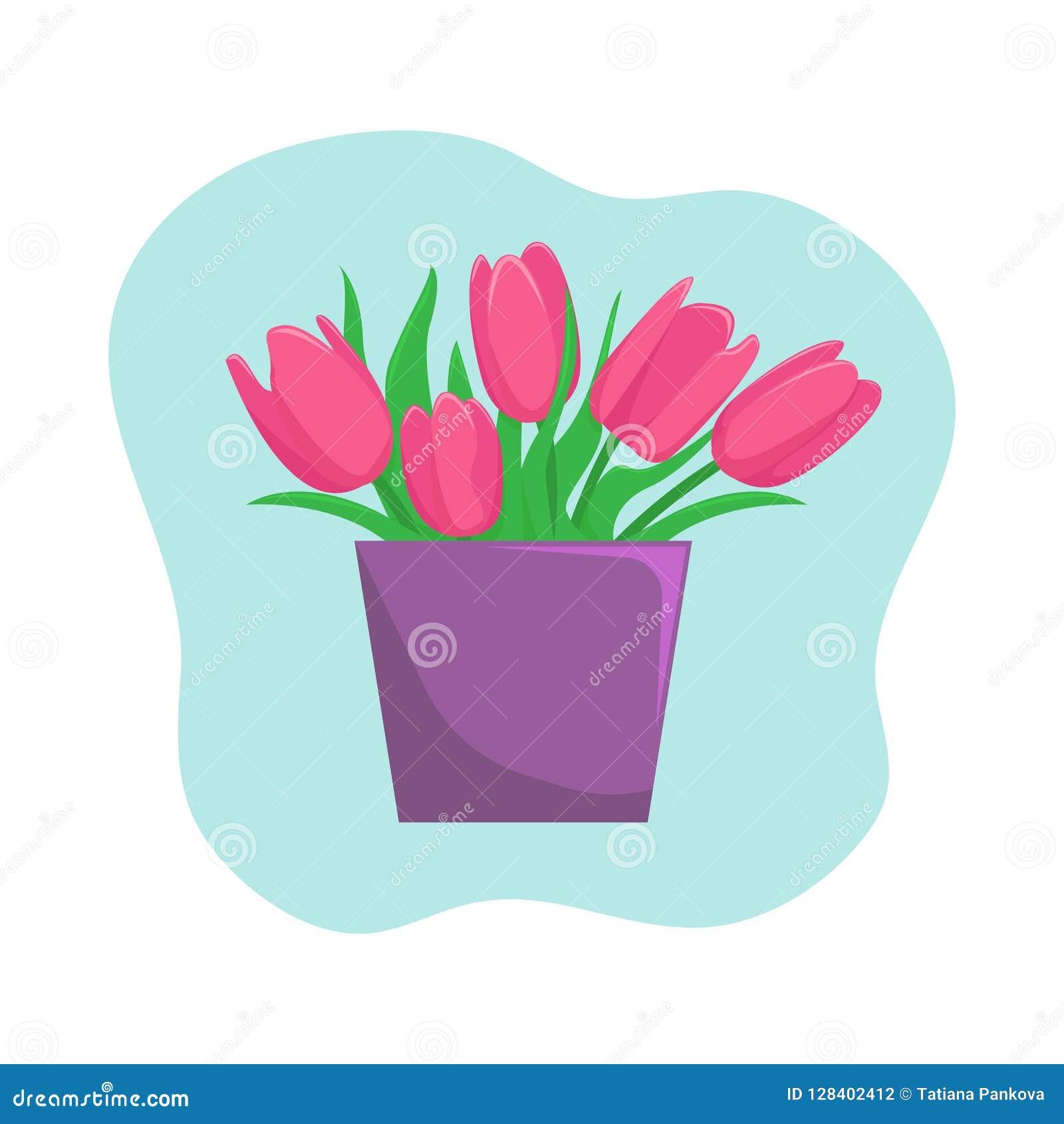 Vase mit rosa Tulpen Flache Vektorillustration