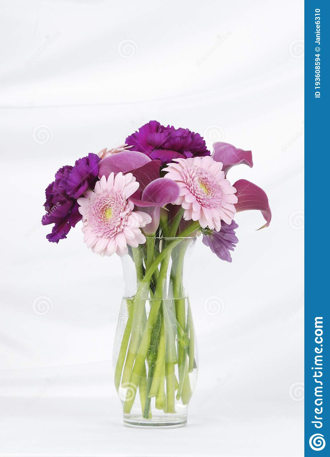 Vase Of Pink And Purple Flowers Isolated On A White ...