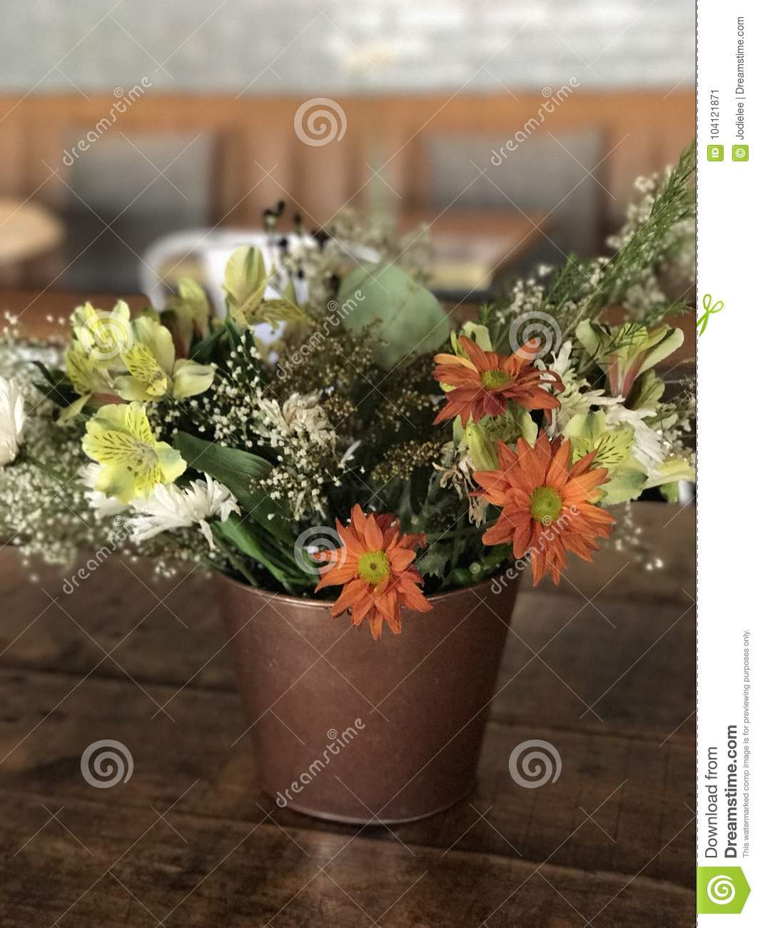 Vase With Pretty Flowers Stock Image Image Of Flowers 104121871