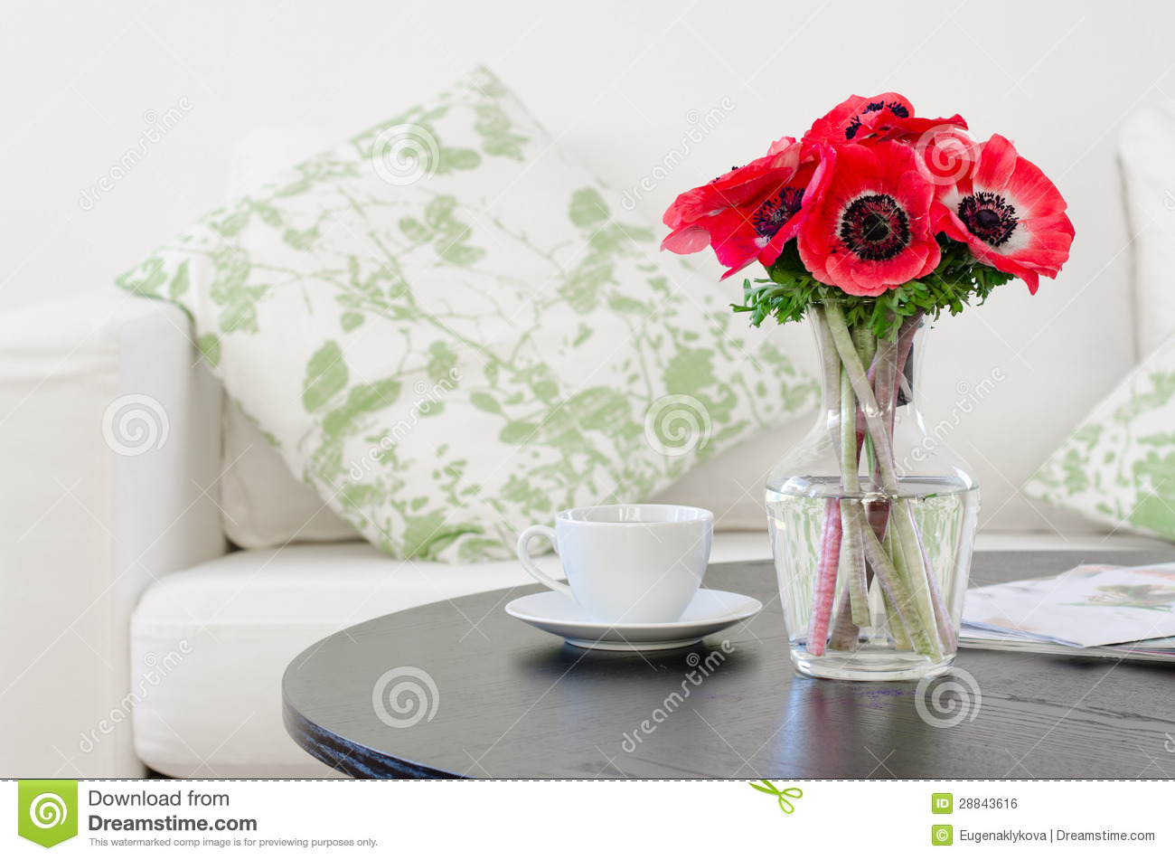 Vase Of Red Flowers In Modern White Living Room Royalty Free Stock Image Image 28843616
