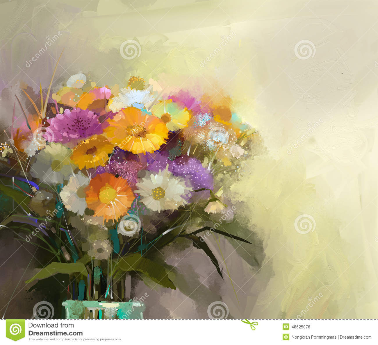 Oil Painting Still Life Bouquet Of Flowers In Vase Stock Illustration Image 48625076