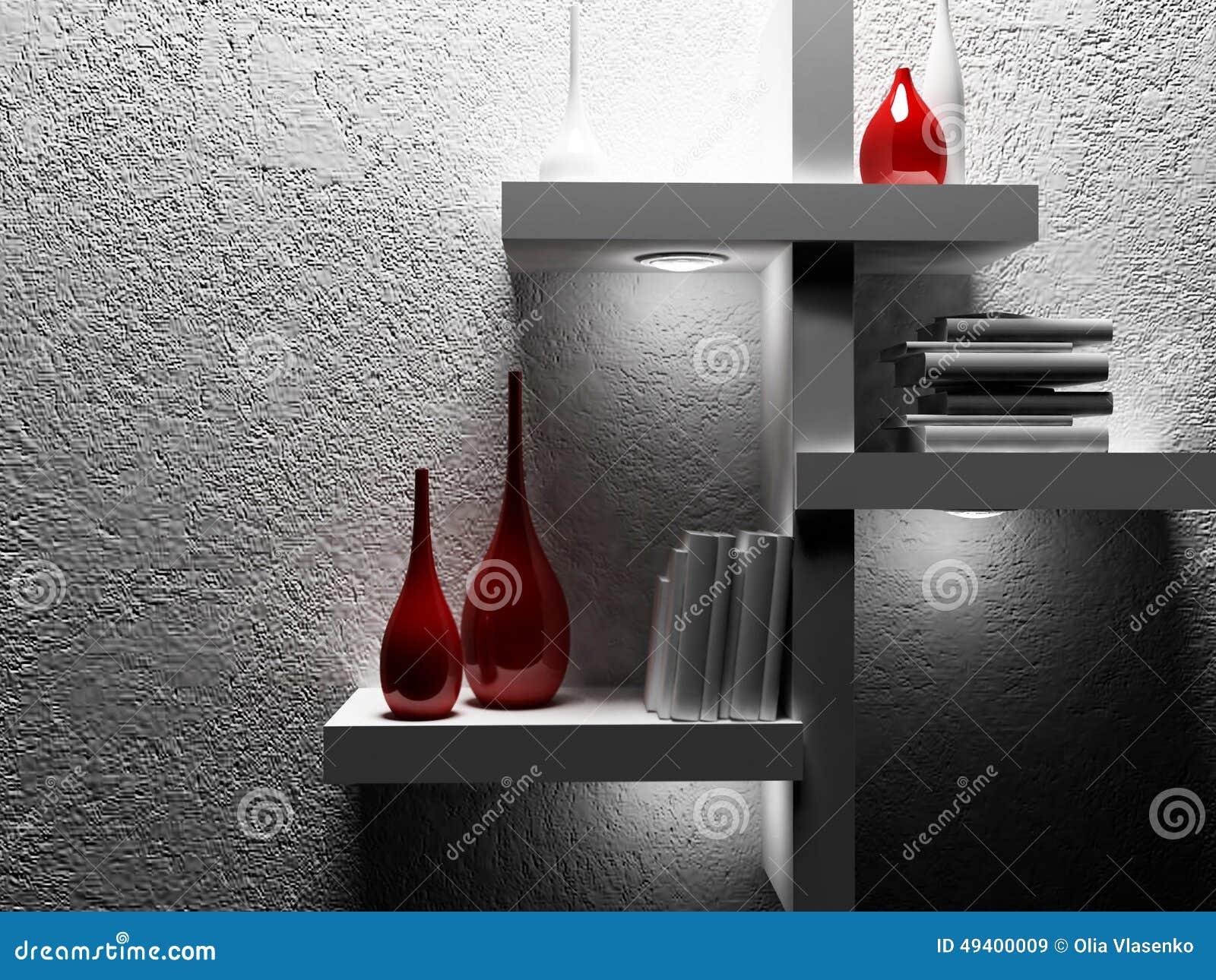 Download Vasen und Bücher im Regal stock abbildung. Illustration von horizontal - 49400009