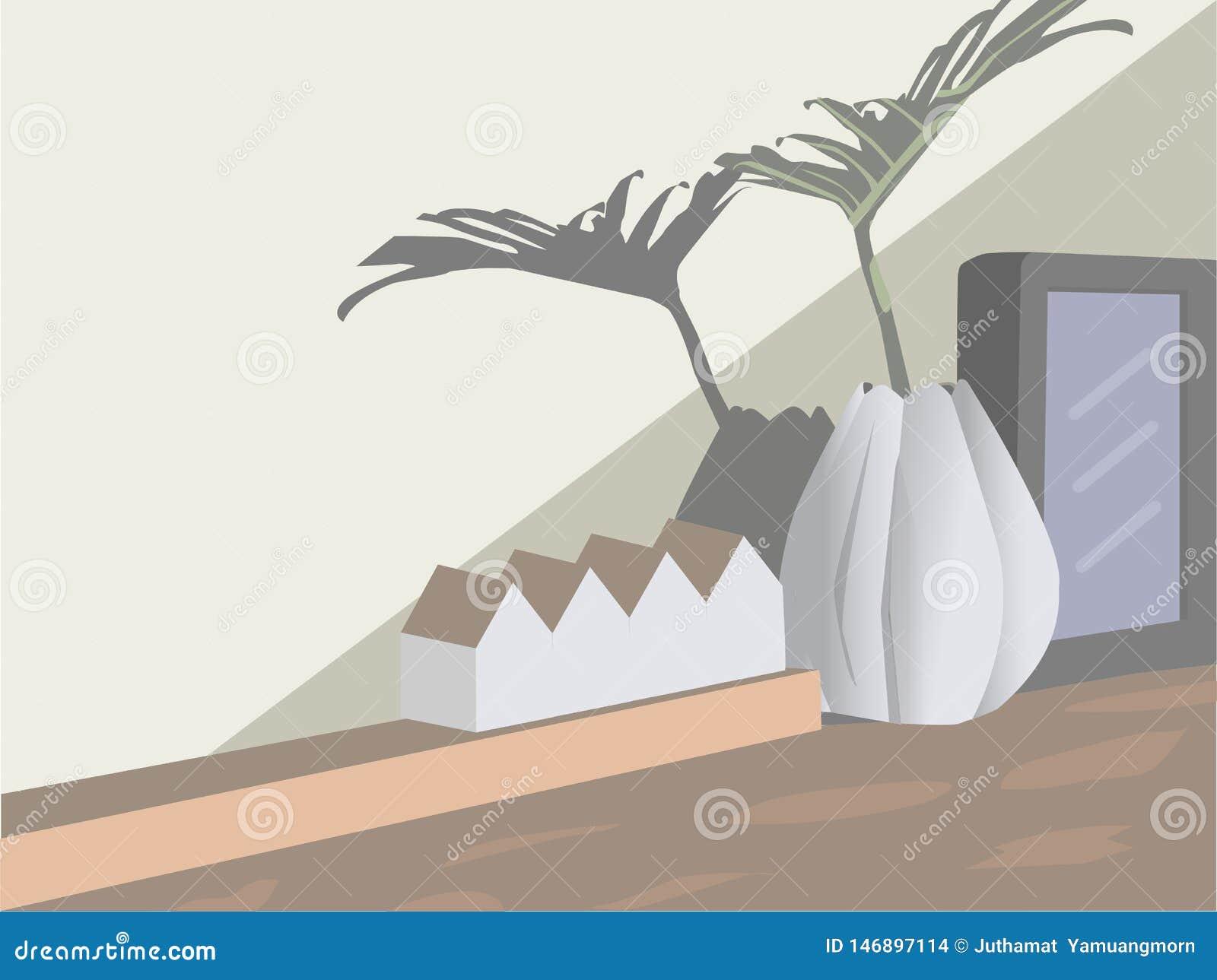 Vasen-, weißer und Schwarzerrahmen Ein Musterhaus auf dem Tisch gesetzt