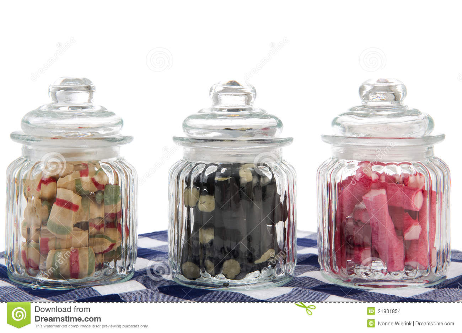 Vasi di vetro della caramella sull 39 azzurro fotografia for Vasi ermetici vetro